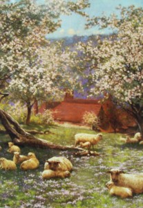 Traditional English orchard painting